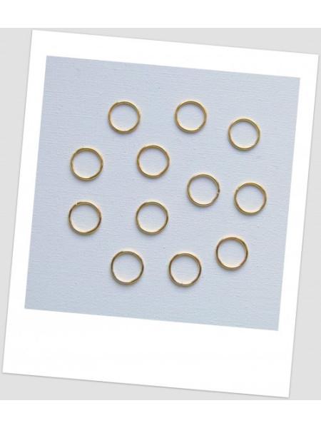 Колечки соединительные металлический, цвет золото, 14 мм, упаковка - 4 шт. (id:670017)