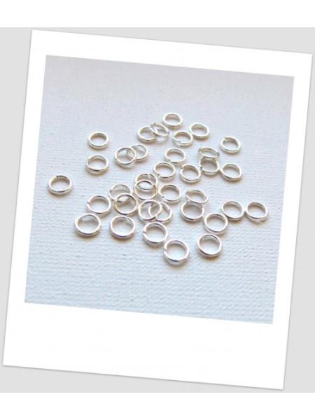 Колечко соединительное металлическое серебряного тона,  5 мм, Цена за упаковку - 100 шт. (id:670019)