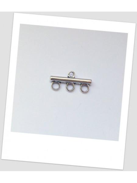 Коннектор металлический, 1+3 петельки, стального цвета, 22 х 11 мм. Упаковка - 10 шт. (id:310009)