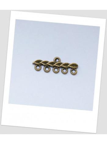 Коннектор металлический, 1+5 петельки, цвет: бронзовый, 28 х 10 мм. Упаковка - 10 шт.