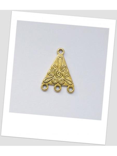Коннектор металлический, три петли, цвет: золотой, 20 х 19,5 мм. Упаковка -4 шт. (id:310005)
