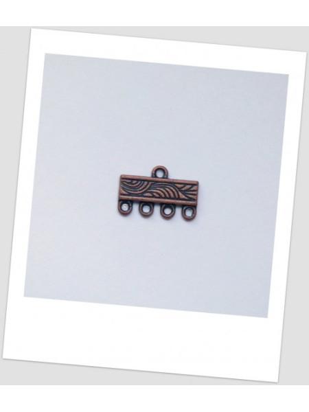 Коннектор металлический, 1+4, медного цвета, 16 х 11 мм Упаковка - 10 шт. (id:310015)