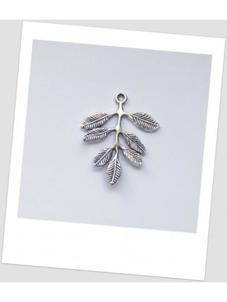 """Коннектор металлический """"листик"""", 2 петельки, цвет: античное серебро, 31 х 27 мм. Упаковка - 4 шт. (id:310014)"""