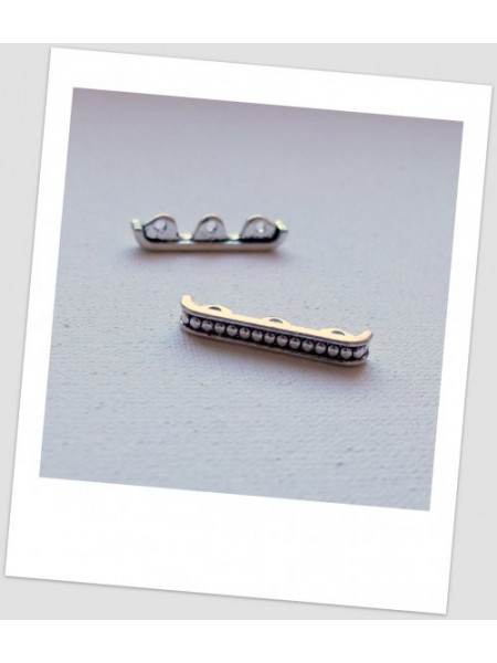 Коннектор металлический, три отверстия, цвет: старинное серебро, 24 х 5 мм. Упаковка -6 шт. (id:310020)