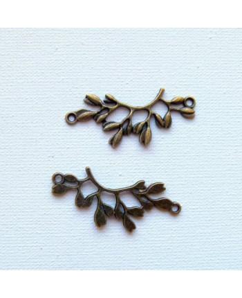 Коннектор металлический веточка, цвет: бронзовый, 3.8x1.7 см. Упаковка - 5 шт. (id:310021)