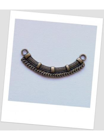 Коннектор металлический бижутерный, цвет бронзовый, 6.9x2.4 см, 30 отверстий.