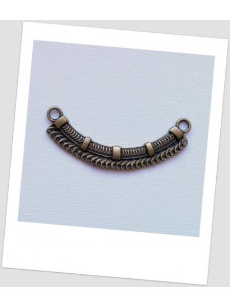 Коннектор металлический бижутерный, цвет бронзовый, 6.9x2.4 см, 30 отверстий. (id:310022)