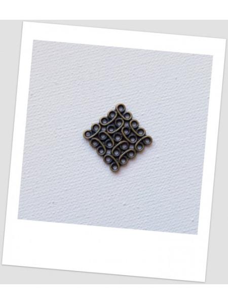 Соединитель бижутерный, квадратный, ажурный, цвет бронзовый, 15x15 мм. Упаковка - 10 шт. (id:310024)