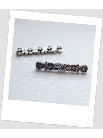 Коннектор металлический с цветочным узором, цвет сталь, 5 петелек, 36 мм. Упаковка - 4 шт.