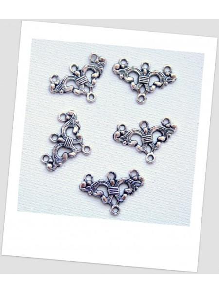 Коннектор металлический, 3 +1 петельки, цвет: стальной, 24 х 16 мм. Упаковка - 10 шт. (id:310033)