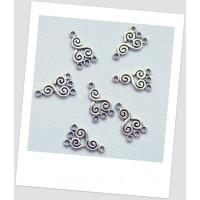 Коннектор металлический, 3 +1 петельки, цвет: стальной, 13 х 21мм,  упаковка - 8 шт (id:310032)