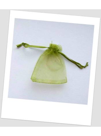 Мешочек из органзы ювелирный 7х 9 см оливковый.