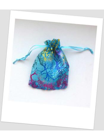 Мешочек из органзы  (12 х 9 см), голубой с узором