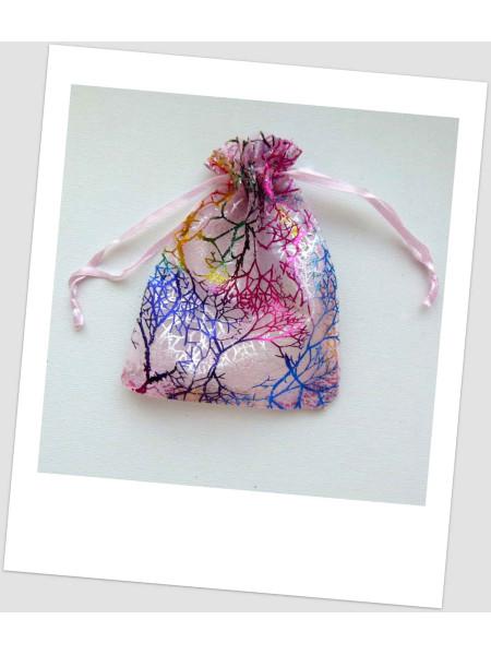 Мешочек из органзы  (12 х 9 см), розовый с узором (id:700029)
