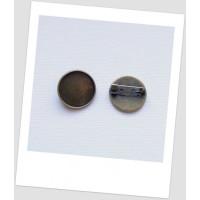 Основа для броши  металлическая с сеттингом, цвет бронзовый, 22 мм. Упаковка - 3 шт. (id:290011)