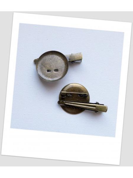 Основа для броши и/или заколки металлическая с сеттингом, цвет бронзовый, 4,4 см х 2.9 см. Упаковка- 4 шт. (id:290010)