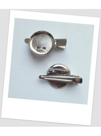 Основа для броши и/или заколки металлическая с сеттингом, цвет стальной,  4 см х 2.3 см, упаковка - 5 шт.