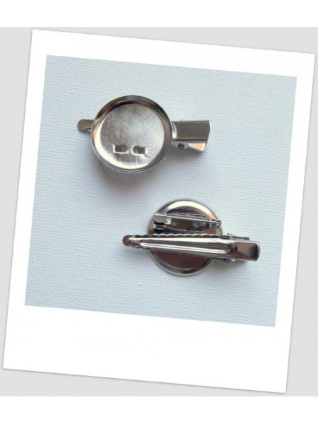 Основа для броши и/или заколки металлическая с сеттингом, цвет стальной,  4 см х 2.3 см, упаковка - 5 шт. (id:290009)