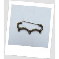 Булавка декоративная фигурная с тремя петельками, цвет бронзовый, 4.6x2 см. Упаковка -3 шт. (id:290016)