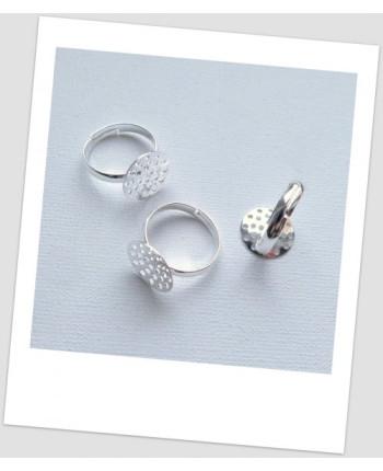Основа для кольца с сеттингом - сеточкой, цвет серебряный, 17.5 мм  (сеттинг 14 мм). Цена за упаковку -3 шт. (id:680020)