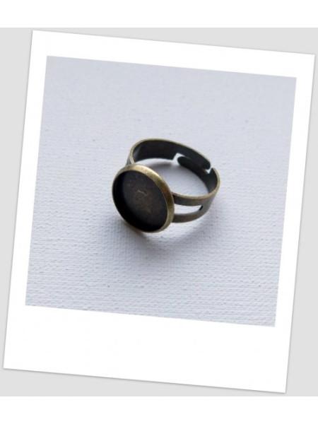 Основа для кольца с сеттингом (12 мм) металлическая, бронзового цвета, 18.3 мм. Упаковка - 5 шт. (id:680022)
