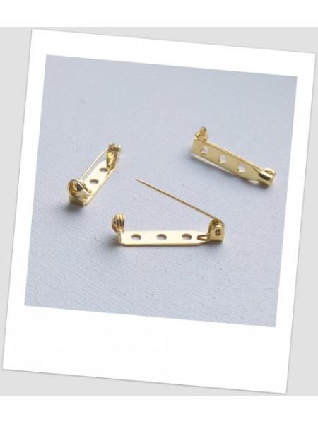 Основа для броши металлическая, золотой цвет, 21 х 5 мм. Упаковка - 4 шт. (id:290020)