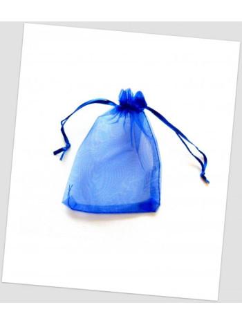 Мешочек из органзы  12 см х 9 см насыщенно-синий
