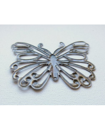 Филигрань металическая бабочка, цвет - бронза, 6см х 6см х 5 см. Упаковка - 4 шт. (id:720015)