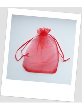Мешочек из органзы 18 см х 13 см красный.