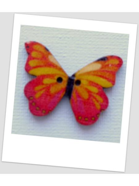 Пуговица деревянная в форме бабочки, цвет розово-оранжевый, размер 28 х21 мм, толщина 3мм, размер отверстия 1,5 мм (id:720024)