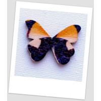 Пуговица деревянная в форме бабочки, цвет коричневый, размер 28 х21 мм, толщина 3мм, размер отверстия 1,5 мм