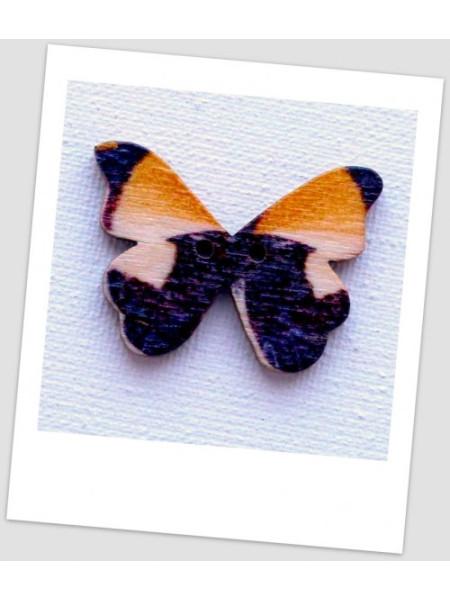 Пуговица деревянная в форме бабочки, цвет коричневый, размер 28 х21 мм, толщина 3мм, размер отверстия 1,5 мм (id:720026)