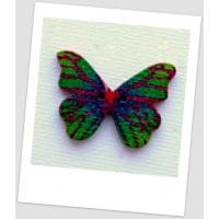 Пуговица деревянная в форме бабочки, цвет тёмно-зелёный, размер 28 х21 мм, толщина 3мм, размер отверстия 1,5 мм (id:720021)