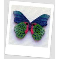 Пуговица деревянная в форме бабочки, цвет зелёный, размер 28 х21 мм, толщина 3мм, размер отверстия 1,5 мм (id:720016)