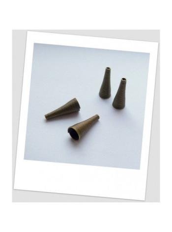Концевик - конус металлический, бронзового цвета, 24 мм х 9 мм. Упаковка - 5 шт.