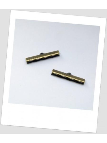 """Концевик-зажим """"крокодильчик"""" металлический, цвет бронзовый,  3.5 см x 0.8 см. Упаковка - 20 шт. (id:270019)"""