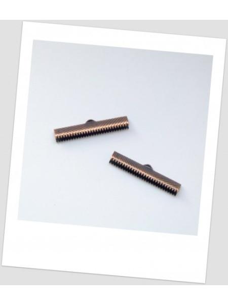 """Концевик-зажим """"крокодильчик"""" металлический, цвет медный, 35 x 7.5 мм. Упаковка -20 шт. (id:270018)"""