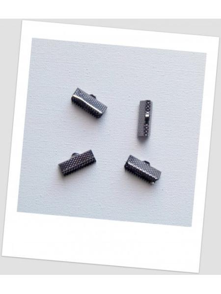 Концевик-зажим для лент металлический, 16 мм x 8 мм, цвет тёмная сталь, упаковка - 10 шт. (id:270024)