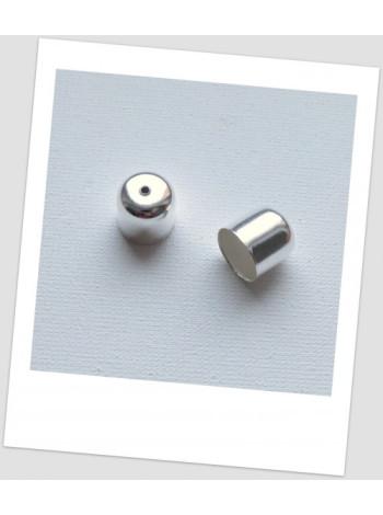 Концевик металлический, светлое серебро, 12х12 мм., упаковка - 20 шт.