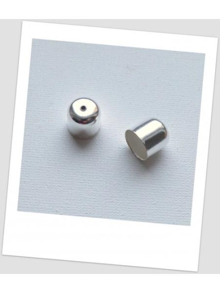 Концевик металлический, светлое серебро, 12х12 мм., упаковка - 20 шт.(id:270045)