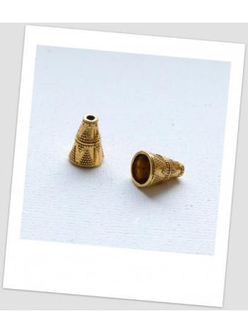Концевик бижутерный металлический с узором, золотого цвета 11х9 мм. Упаковка - 6 шт.