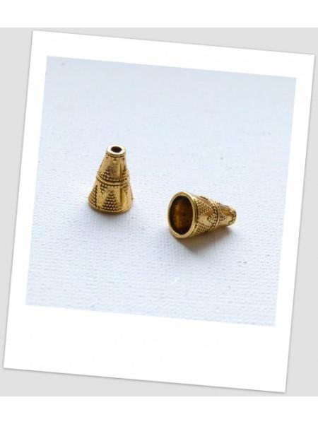 Концевик бижутерный металлический с узором, золотого цвета 11х9 мм. Упаковка - 6 шт. (id:270043)
