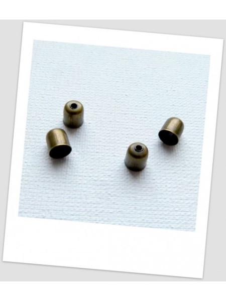 Концевик металлический, бронзового цвета, 6x5 мм. Упаковка - 50 шт. (id: 270046)