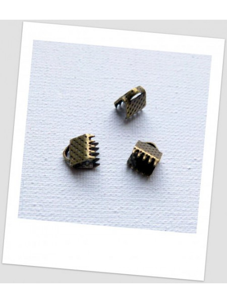 Концевик-зажим для лент металлический, 6 мм x 8 мм, цвет бронзовый. Упаковка - 50 шт. (id:270050)