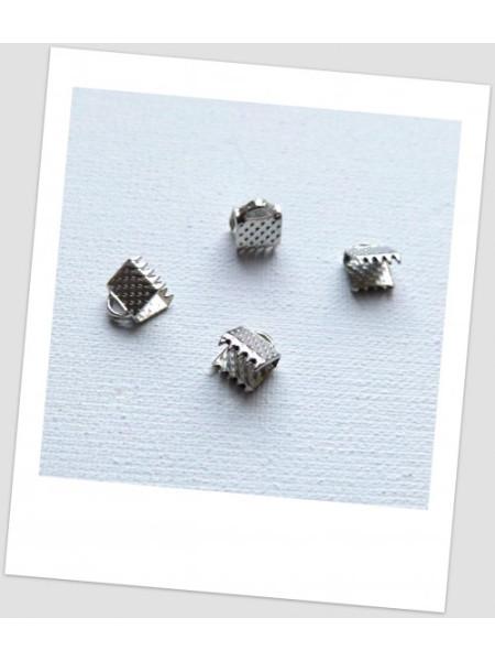 Концевик-зажим для лент металлический, 6 мм x 8 мм, цвет  сталь, упаковка - 10 шт. (id:270049)