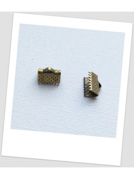 Концевик-зажим для лент металлический,10х8 мм, цвет бронзовый. Упаковка - 50 шт. (id:270051)