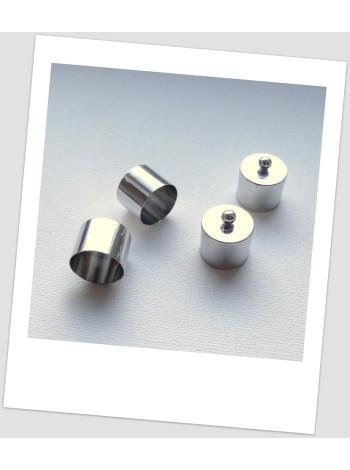 Концевик колпачок для бижутерии металлический, 9 мм внутренний диаметр, цвет стальной, упаковка - 10 шт.