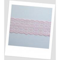 Кружево синтетическое, цвет нежно розовый, ширина  - 45 мм (id:750004)