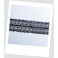 Кружево синтетическое, цвет чёрный, ширина  - 45 мм (id:750001)