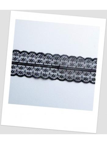 Кружево синтетическое, цвет чёрный, ширина  - 45 мм